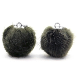 2 x Pompom bedels faux fur 16mm Dark olive green