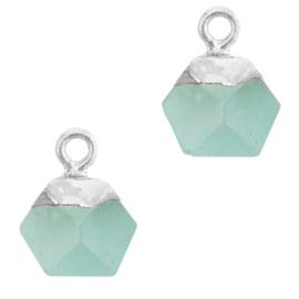 1 x Natuursteen hangers hexagon Icy morn blue-silver Jade
