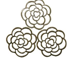 2 x tussenzetsel bloem 35 mm geel koper