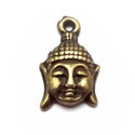 2 x Tibetaans zilveren hanger buddha hoofd 18x12mm geel koper