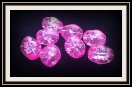 30 x glaskraal crackle grillig ovaal transparant fel roze 13 mm