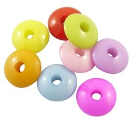 15 stuks Jelly style siliconen kralen mix 12,5 x 5mm gat: 3mm  assortiment