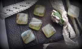 10 stuks Glaskraal plat vierkant transparant gemeleerd 10 x 5 mm