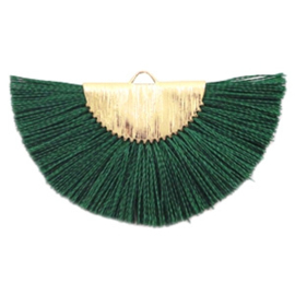 Kwastjes hanger Gold-dark classic green