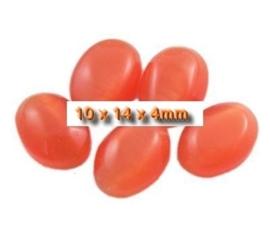 5 x Plaksteen glas cate-eye ovaal 10 x 14 mm oranje