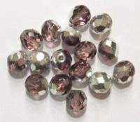 10 x Glaskraal facet kristal Amethist/zilver 8 mm