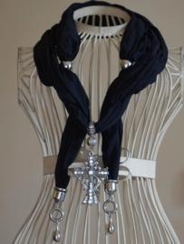 Schitterende Polyester Katoen bedel sjaal zwart met metalen Kruis medium hanger met strass