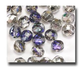 10 Stuks Glaskraal facet kristal duo-kleur, transparant - zilver 7 mm