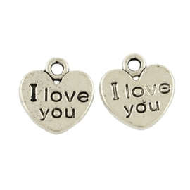 """10 stuks Tibetaans zilveren """"I love you"""" 12 x 11 x 1mm zilver oogje: 2mm"""