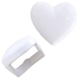 2 x  Chill metalen schuiver hart pastel wit c.a. 5mm