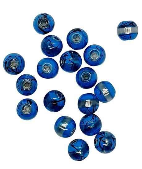 10 stuks 8 mm glaskralen blauw bewerkt