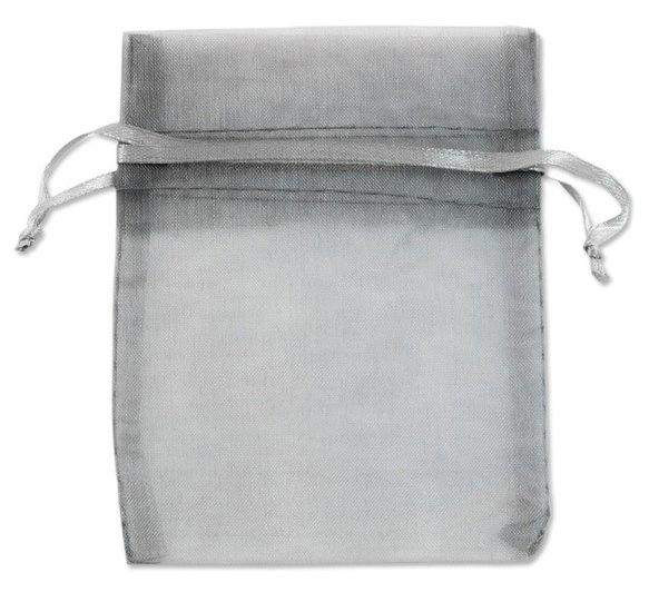 c.a. 100 stuks organza zakjes 7 x 9 cm zilver grijs (in bestelling)