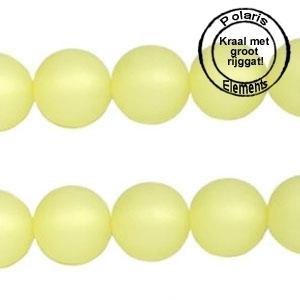 10 Stuks Polaris kralen matt rond 8 mm Jonquil geel met groot gat 2,5mm