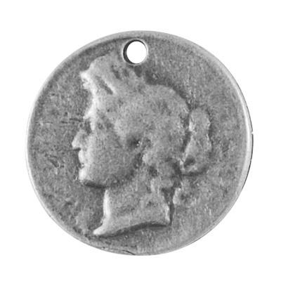 2 x Grote Tibetaans zilveren vintage munt 26 x 3mm oogje: 2mm Antique zilver