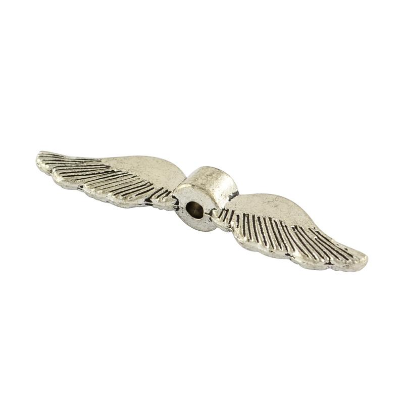 4 stuks tibetaans zilveren engelen vleugel 35 x 8 x 5mm  gat 1,5mm