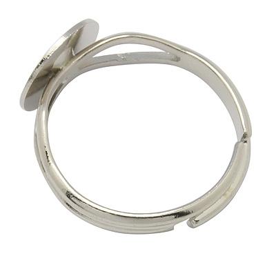 Verstelbare basis ring, diameter c.a. 18mm , maat van de ringdop: 10mm platinum