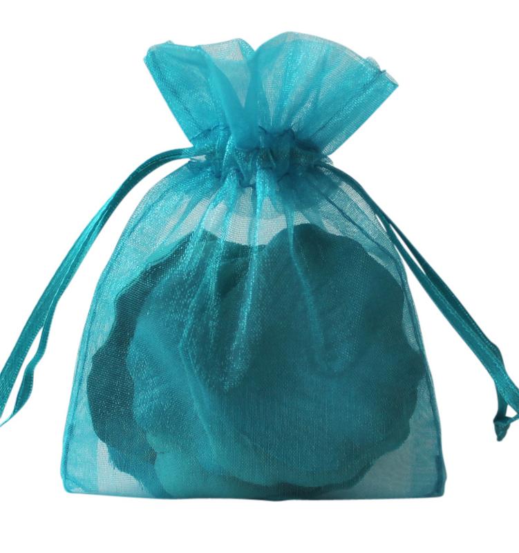 20 stuks organza zakjes 7x9cm turquoise