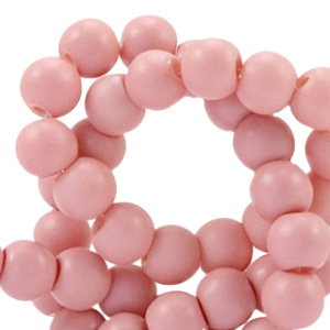 20 x  4mm glaskraal full mat Pale blush pink