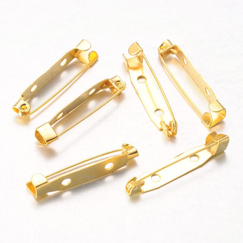 10 broche spelden 30 x 6 x 5mm 2 gaten goud  kleur