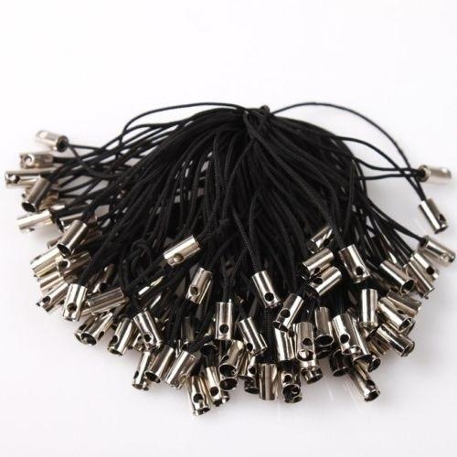 10 stuks telefoonkoordjes 5cm zwart