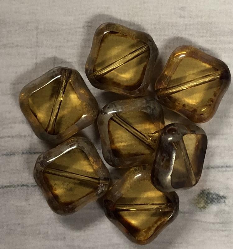 10 Stuks doorzichtige glaskralen met een bruine gloed