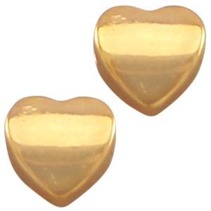 DQ metaal hart 8 mm Goud (nikkelvrij)