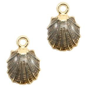 Basic quality metalen bedels shell Gold-black ca. 18.5x12.5mm (Ø2mm)