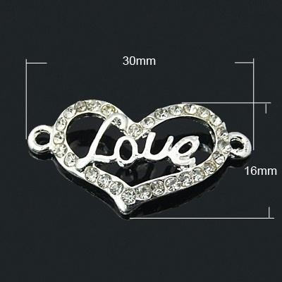 Schitterende  tussenzetsel hart  met strass 30x16x2mm zilver love