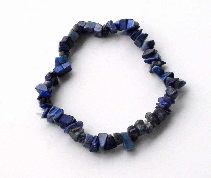 Armband met elastiek, gepolijste split kralen Lapis Lazuli