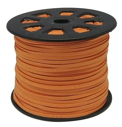 Faux suède veter, licht oranje, 1 meter x 3mm