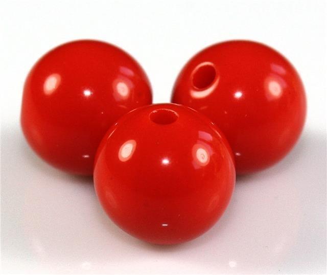 10 Stuks acrylkralen rood 12 mm, gat 2 mm