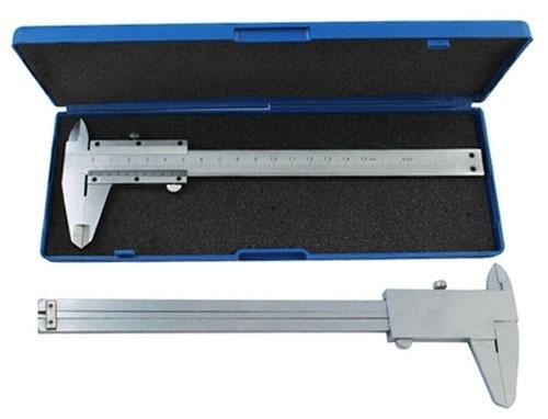 Schuifmaat om bijvoorbeeld kralen en rijgaten te meten, van hoogwaardig RVS in opbergdoosje