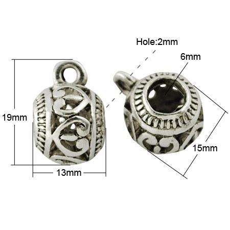 Prachtige grote Tibetaans zilveren bails hanger bali style 19 x 13 x 15mm Ø 6mm, het oogje is 2,5mm