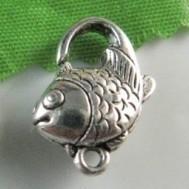 2 x Tibetaans zilveren sluiting in de vorm van een vis 13 x 20mm