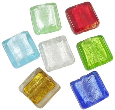 10 stuks zilverfolie glaskralen 20 x 20 x 6mm gat 1,5mm mix kleuren  assortiment
