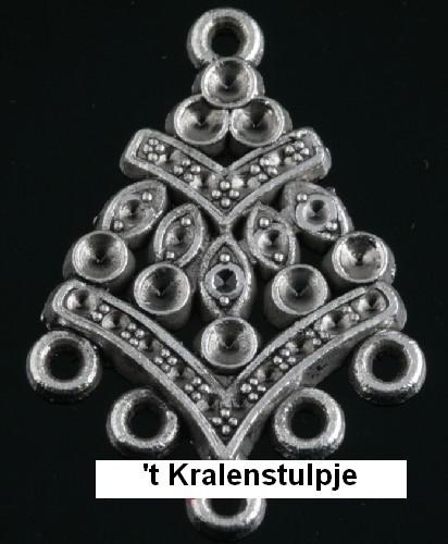 2 stuks tibetaans zilveren oorbellen ornamenten 29x20mm