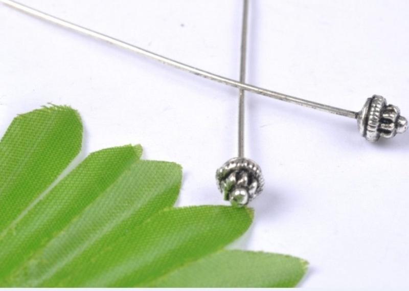 25 x Bloemen nietstiften 50 x 0,7mm Tibetaans zilver