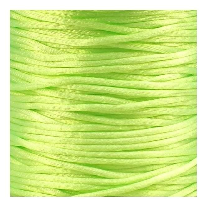 1 meter satijnkoord  van ca. 2 mm dik,  neon groen