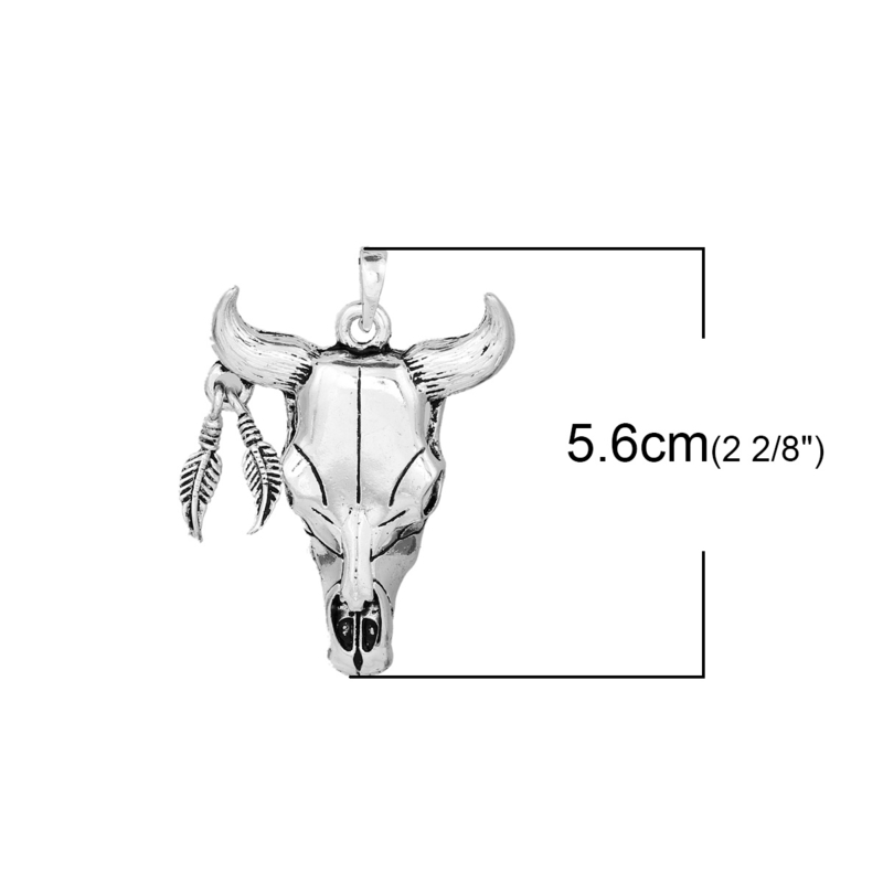 Prachtige hanger buffelkop 56mm  x 39mm