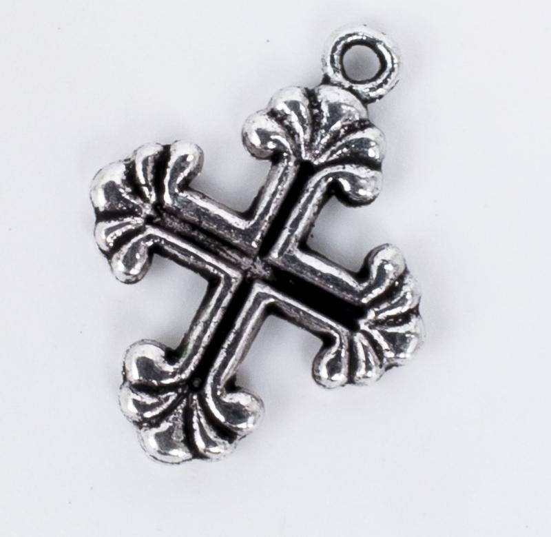 5x Tibetaans zilveren bedel van een kruis 26,3 mm x 15,3 mm
