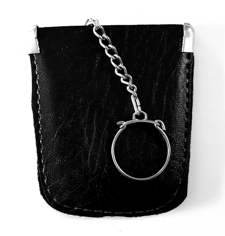 Sleutel etui - faux leder kleur zwart model A