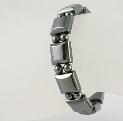 Hematiet armband met elastiek