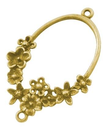 2 stuks tibetaans zilveren oorbellen ornamenten 42mm x 26mm x 4mm gat: 1.5mm goudkleur