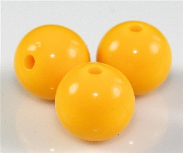 15 Stuks acrylkralen 12 mm gat ca 2 mm geel