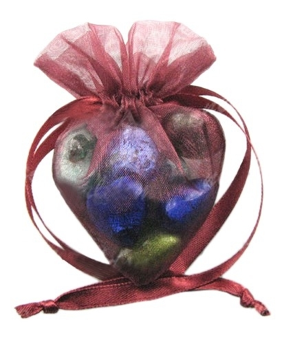 20 stuks luxe hartvormige organza zakjes 10cm x 8.75cm Bordeaux Rood