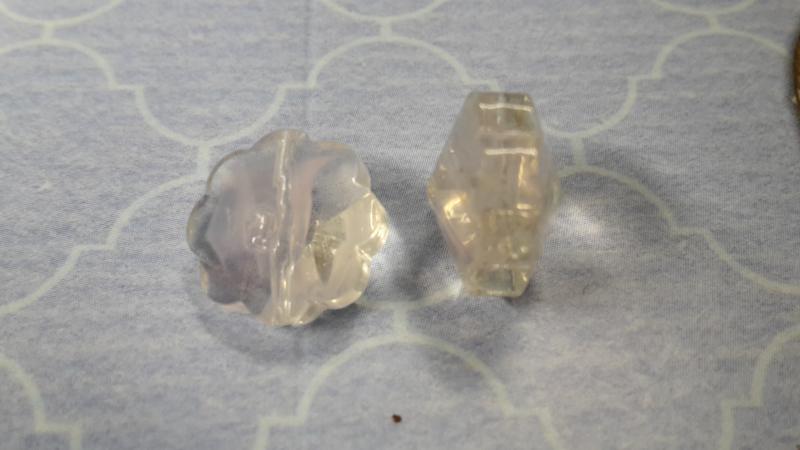 10 x roze / transparant Glaskraal 8 x 12 mm Gat 1 mm