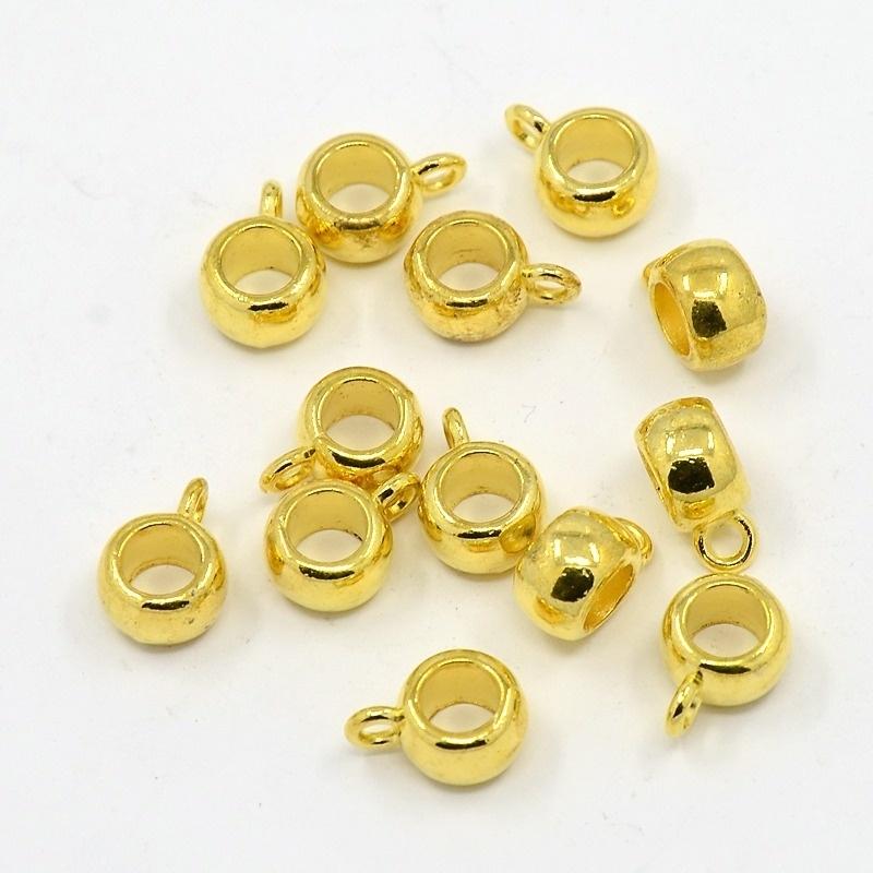 10 x tibetaans zilveren bails hanger 10,5 x 7,5 x 4mm Ø3,5mm oogje: 2mm goudkleur