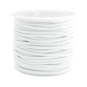 3 meter gekleurd elastisch draad van rubber voorzien van een laagje stof  1mm White