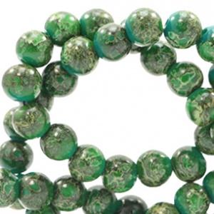 15 stuks Glaskraal gemêleerd 8mm stone look Classic green-yellow