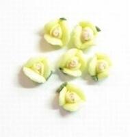 5x Porcelijn Roosje 6 mm geel